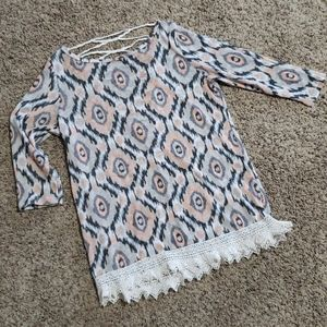 Lightweight Woven Top - Crochet and Lace Details